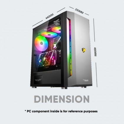 Armaggeddon-Tessaraxx Core 11 EATX Gaming PC Case   Strong Compatibility   1 ARGB Fan Included