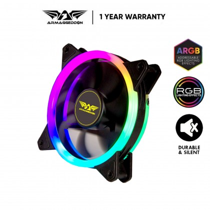 Armaggeddon-Tessaraxx Dual Loop ARGB Fan (Double Ring) | Support Aurora Sync : ASUS / Gigabyte / MSI
