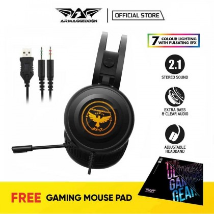 Armaggeddon Atom 7 Gaming Headphones for PC and Laptop   7 Colour Lighting   1 Year Warranty   Free Mouse Mat