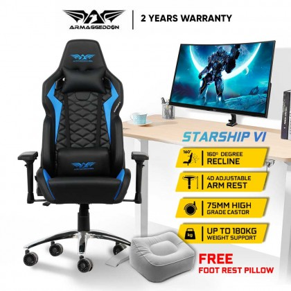 Armaggeddon Starship VI Premium PU Leather Ultimate Gaming Chair | Cold-Cure Moulded Foam | Free Foot Rest Pillow