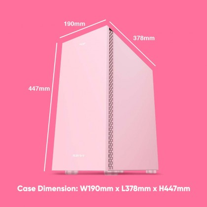 Armaggeddon Ruby B-V Pink ATX Gaming PC Case   Strong Compatibility   Tempered Glass Side Panel   1 Year Warranty