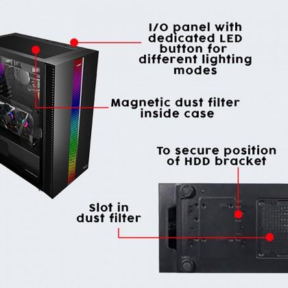 Armaggeddon Tessaraxx APEX 7 E-ATX Gaming PC Case   RGB Strip Front Panel   Vertical Expansion Slot   Optional Free Fan